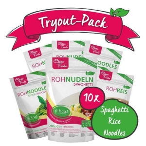 Tryout Pack: Low Carb Combi mit 4x Rohnudeln Konjak Spaghetti 4x Rohnudeln Konjak Noodles 1x Rohnudeln Konjak Reis, 200gr, 1x Rohnudeln Konjak Spinat Nudeln 200gr / Beutel