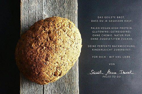 LOW-CARB-Brot-Backmischung: 100% Bio | Eiweissbrot 22% Protein | VEGAN & PALEO | Glutenfrei, Hefefrei | ohne Getreide & ohne Zucker | Hergestellt in DE | Ergibt 4 Brote